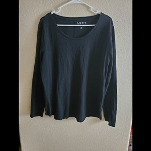 LOFT XL Black Long Sleeve Cotton Top Blouse